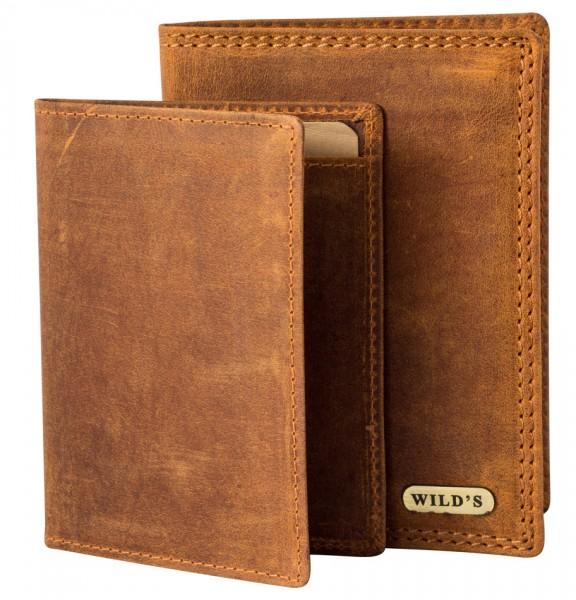Herren Portemonnaie aus Vintage Leder Hochformat 2in1 Hellbraun Modell Wilds 236