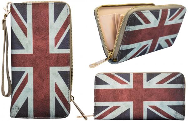 Damen Geldbörse bedruckt mit Britische Flagge Kunstleder Doppelreißverschluss