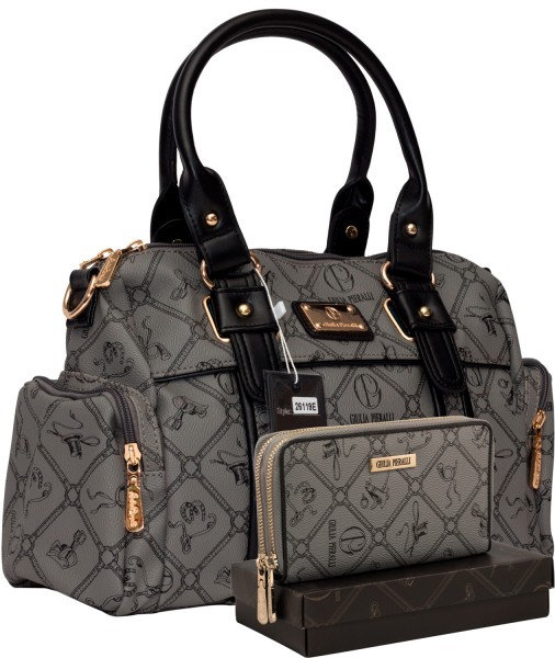 Damentasche + Damengeldbörse SET Farbe Grau Schwarz Giulia Pieralli 26119E
