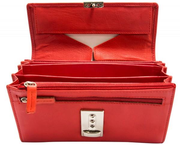 Franko Kellnerbörse aus Echt Leder in Rot 18cm lang (Hochwertig verarbeitet)