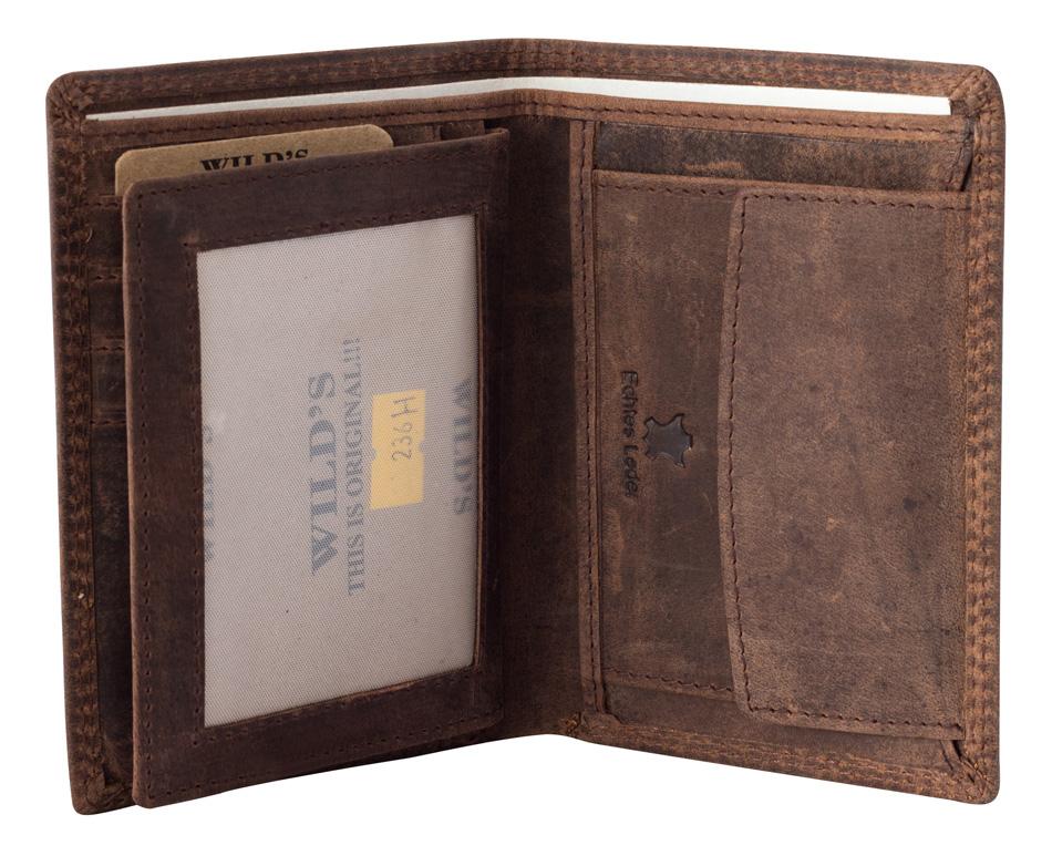 Herren Portemonnaie Geldbörse Brieftasche Leder Hellbraun Hochformat 236