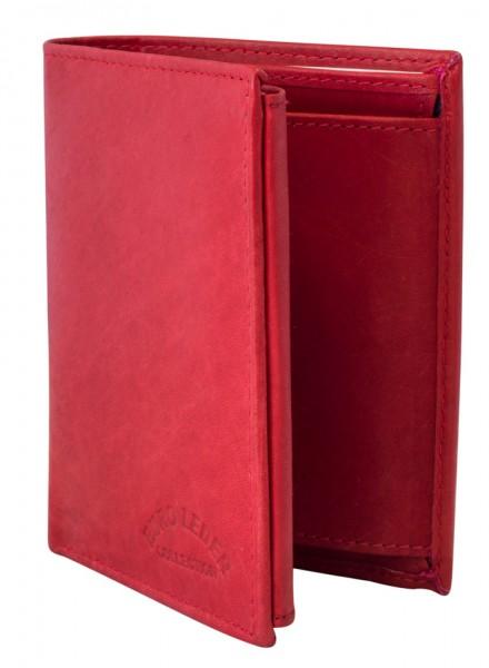Preiswerte Herren Geldbörse aus Leder Hochformat in Rot TR35