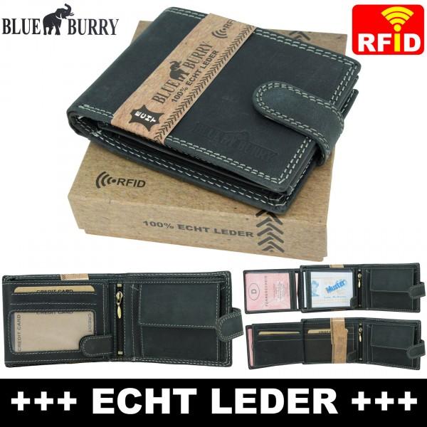 Premium Herren Portemonnaie aus Leder mit RFID-Schutz RF-02-L Schwarz