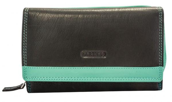 Grüne Damen Geldbeutel aus Leder vielen Kartenfächern Geldbörse Portemonnaie Schwarz-Grün 381