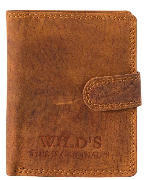 Herren Portemonnaie aus Leder Hellbraun W01L mit Clippverschluss Geldbörse Brieftasche