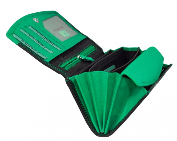 Grün Schwarze Damen Geldbeutel aus weichem Leder Lang mit vielen Kartenfächer 378