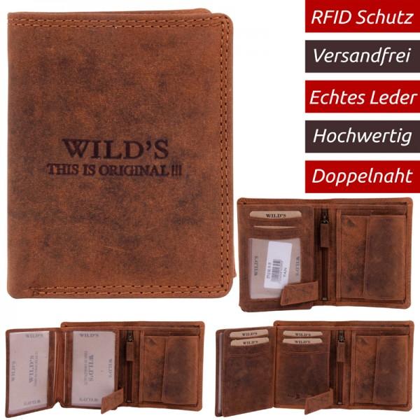 Herren Portemonnaie Leder RFID miniHochformat Brieftasche viele kartenfächer W18