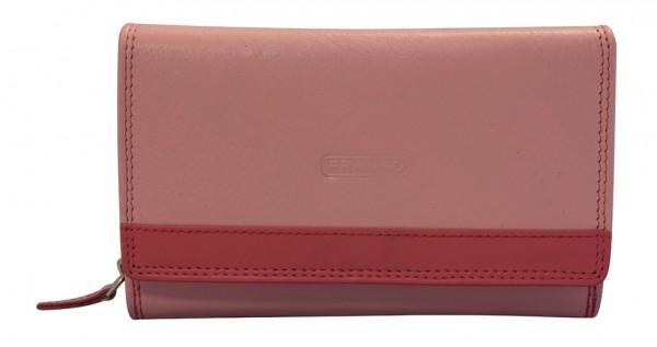 Damen Geldbeutel aus Leder vielen Kartenfächern Geldbörse Portemonnaie Pink Rosa 381