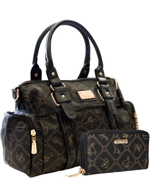 SET Damen Handtasche + Damen Geldbörse Giulia Pieralli 26119E Schwarz Nero