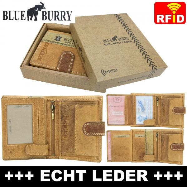 RFID Männer Portemonnaie aus Leder von Blue Burry RF01L mit Clippverschluss Hellbraun
