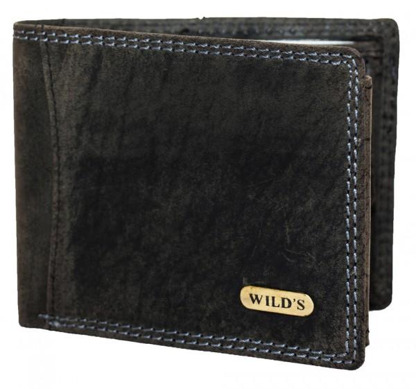 Herren Geldbeutel aus Vintage Leder Querformat Schwarz Modell Wilds 1598