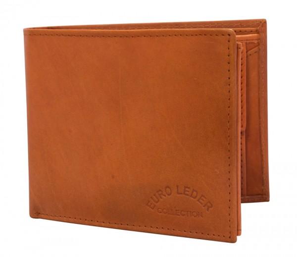 Preiswerte Herren Geldbörse aus Rind Leder in Querformat Orange