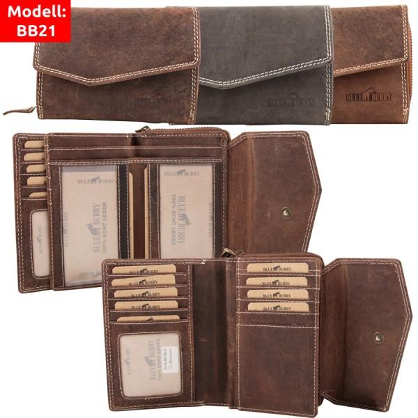 Damen Geldbörse aus Leder viele Fächer Vintage-Leder Portemonnaie MH-BB21