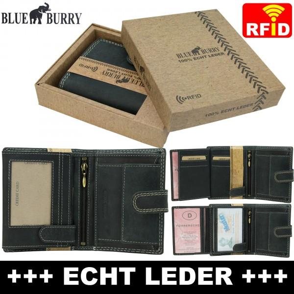 RFID Männer Portemonnaie aus Leder von Blue Burry RF01L mit Clippverschluss Schwarz