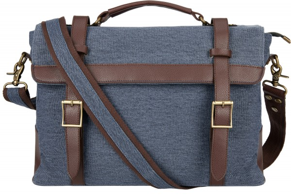 BS16470 Messenger Bag – Cambridge Blaue Canvas-Business-Tasche im Vintage-Look