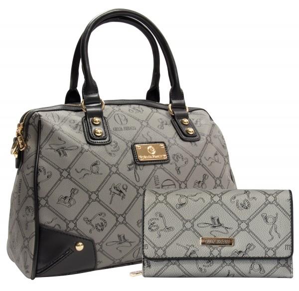 SET Giulia Pieralli Damen Handtasche + Geldbörse Damentasche 2622B in Grau