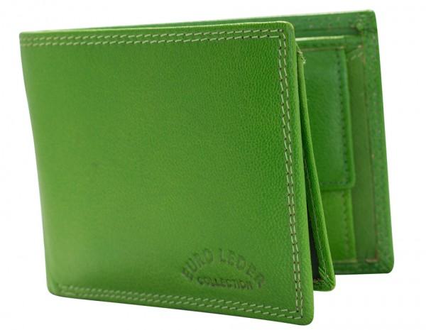 Preiswerte Leder Geldbörse Portemonnaie Brieftasche Grün Querformat #139