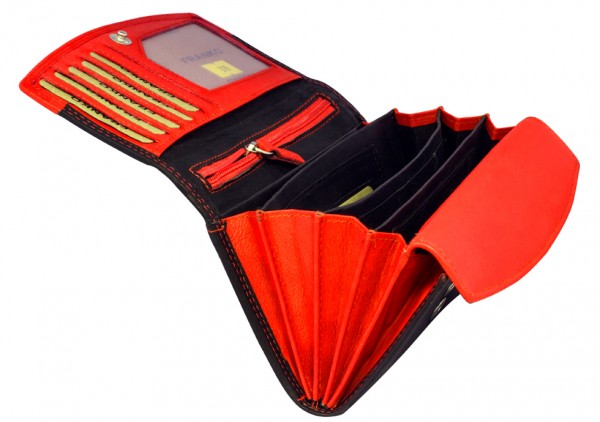Rote Schwarze Damen Geldbeutel aus weichem Leder Lang mit vielen Kartenfächer 378