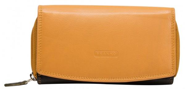 Weiche Damen Geldbeutel aus Rindleder XXL Portemonnaie Viele Fächer BB20 Schwarz Orange