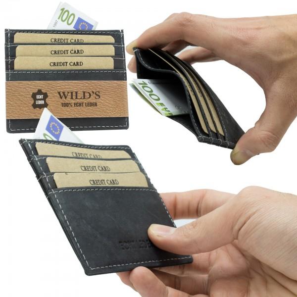 Slim Wallet Vintage Leder Kartenhalter Brieftasche Portemonnaie Schwarz