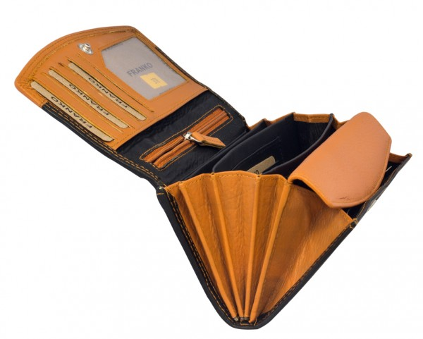 Orangene Schwarze Damen Geldbeutel aus weichem Leder Lang mit vielen Kartenfächer 378