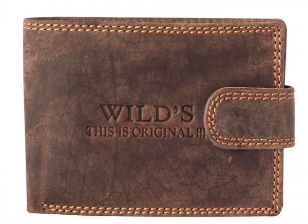 Herren Portemonnaie aus Vintage Leder Clippverschluss Querformat Dunkelbraun Modell Wilds W02L