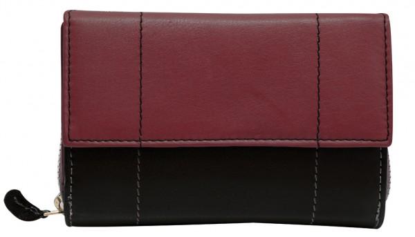 Schwarz Weinrote Damen Geldbeutel aus weichem Rindsleder mit Druckknopf und Reißverschluss BB05