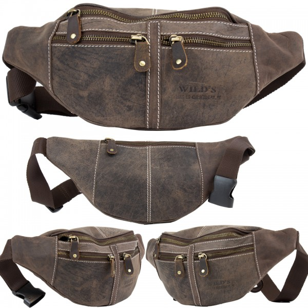 Wild's Herren Bauchtasche Vintage Leder Männer Hüfttasche 2506 Dunkelbraun