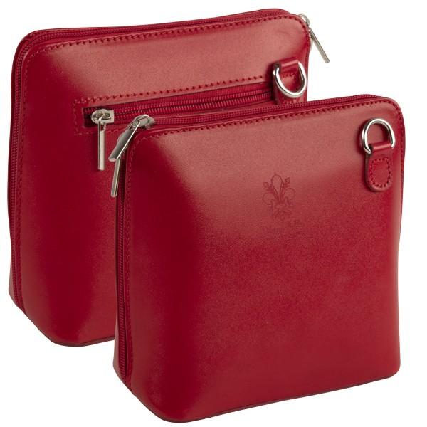 Italienische Damen Handtaschen aus Echtleder Damentasche Henkeltasche Italy Rot