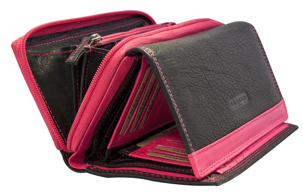 0e65c344d94cc ... Vorschau  Damen Geldbeutel aus Leder vielen Kartenfächern Geldbörse  Portemonnaie Schwarz Pink 381 ...