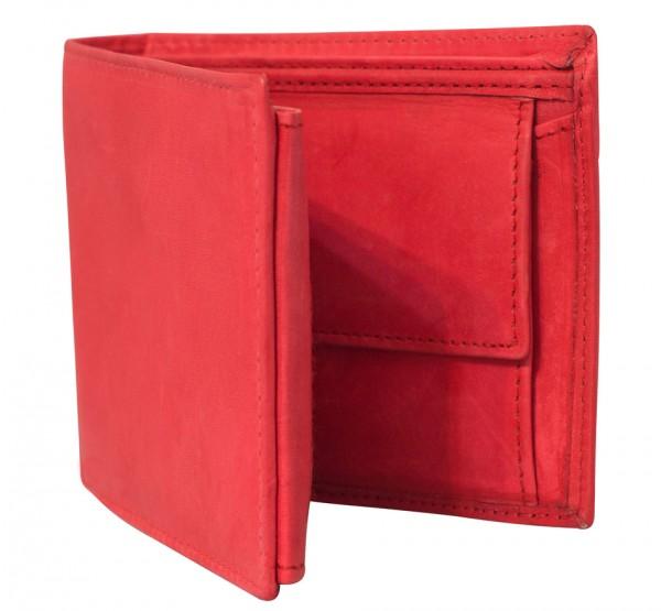 Rote Preiswerte Herren Geldbörse aus Rind Leder in Querformat Rot