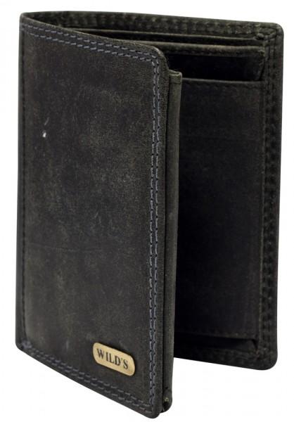 Herren Geldbeutel aus Vintage Leder Hochformat Schwarz Modell Wilds 1599