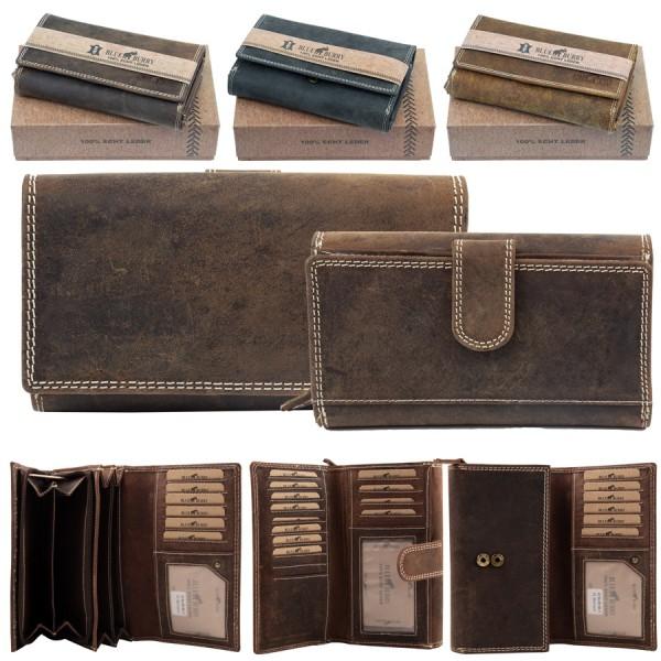 Damen Geldbörse aus Leder viele Fächer Vintage-Leder Portemonnaie MH-BB11