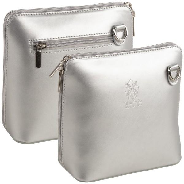 Italienische Damen Handtaschen aus Echtleder Damentasche Henkeltasche Italy Silber