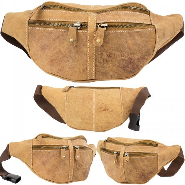 Wild's Herren Bauchtasche Vintage Leder Männer Hüfttasche 2506 Hellbraun