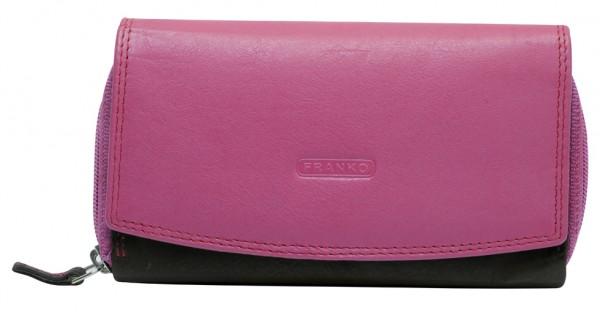 Weiche Damen Geldbeutel aus Rindleder XXL Portemonnaie Viele Fächer BB20 Schwarz Pink