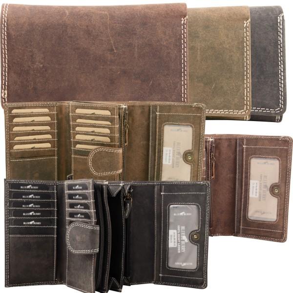 Damen Geldbörse aus Leder viele Fächer Vintage-Leder Portemonnaie MH-BB55