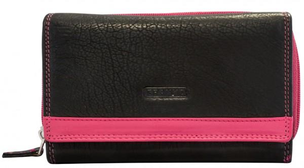 Damen Geldbeutel aus Leder vielen Kartenfächern Geldbörse Portemonnaie Schwarz Pink 381