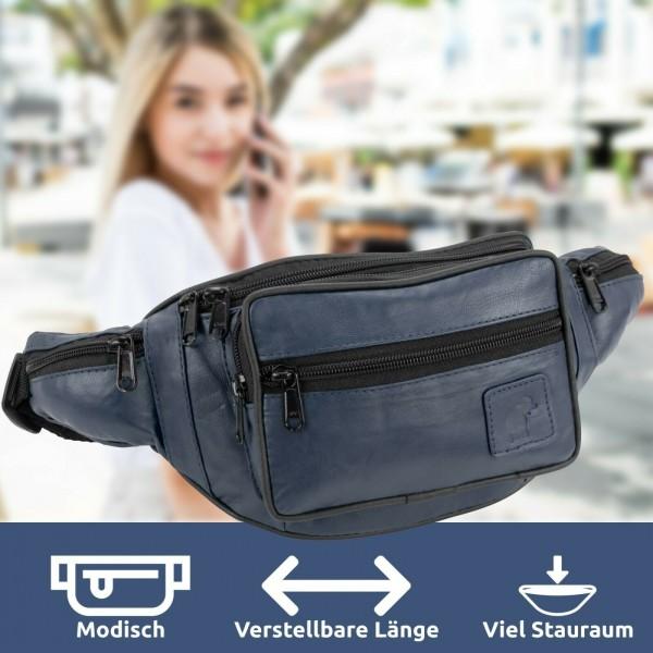 Schwarze Leder Gürteltasche Bauchtasche / Hüfttasche