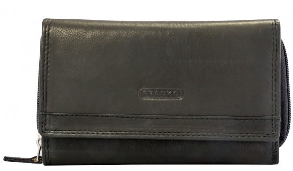 Schwarze Damen Geldbeutel aus Leder vielen Kartenfächern Geldbörse Portemonnaie Schwarz 381