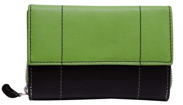 Grün Schwarze Damen Geldbeutel aus weichem Rindsleder mit Druckknopf und Reißverschluss BB05