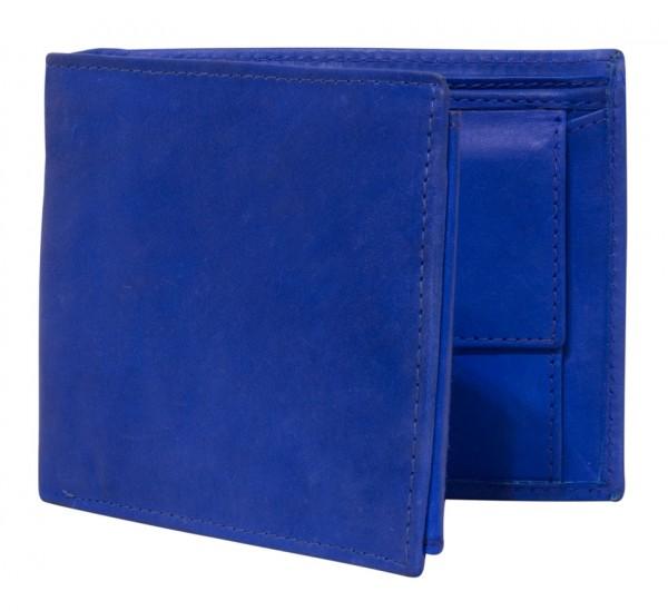 Blaue Preiswerte Herren Geldbörse aus Rind Leder in Querformat Blau