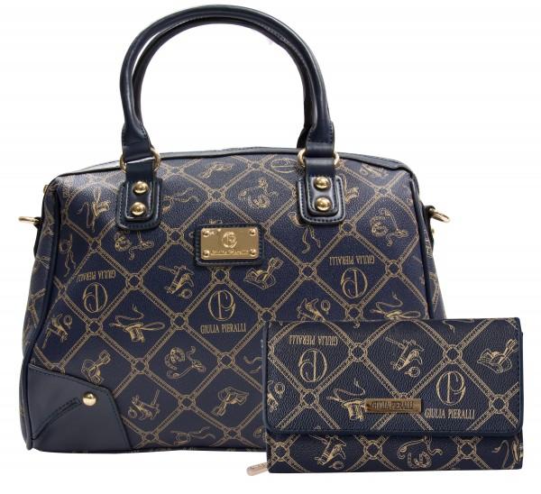 SET Giulia Pieralli Damen Handtasche + Geldbörse Damentasche 2622B in Blau