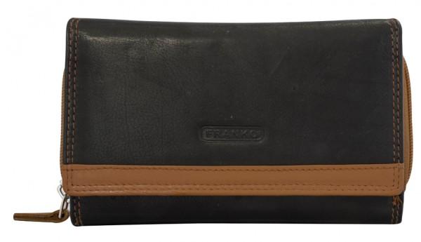 Damen Geldbeutel aus Leder vielen Kartenfächern Geldbörse Portemonnaie Schwarz-Braun 381