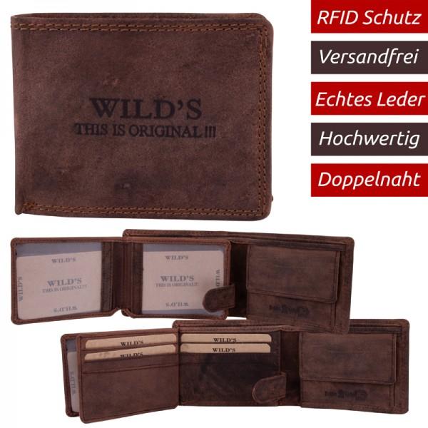 RFID Herren Portemonnaie aus Leder Dunkelbraun W20 Kleine Geldbörse Brieftasche