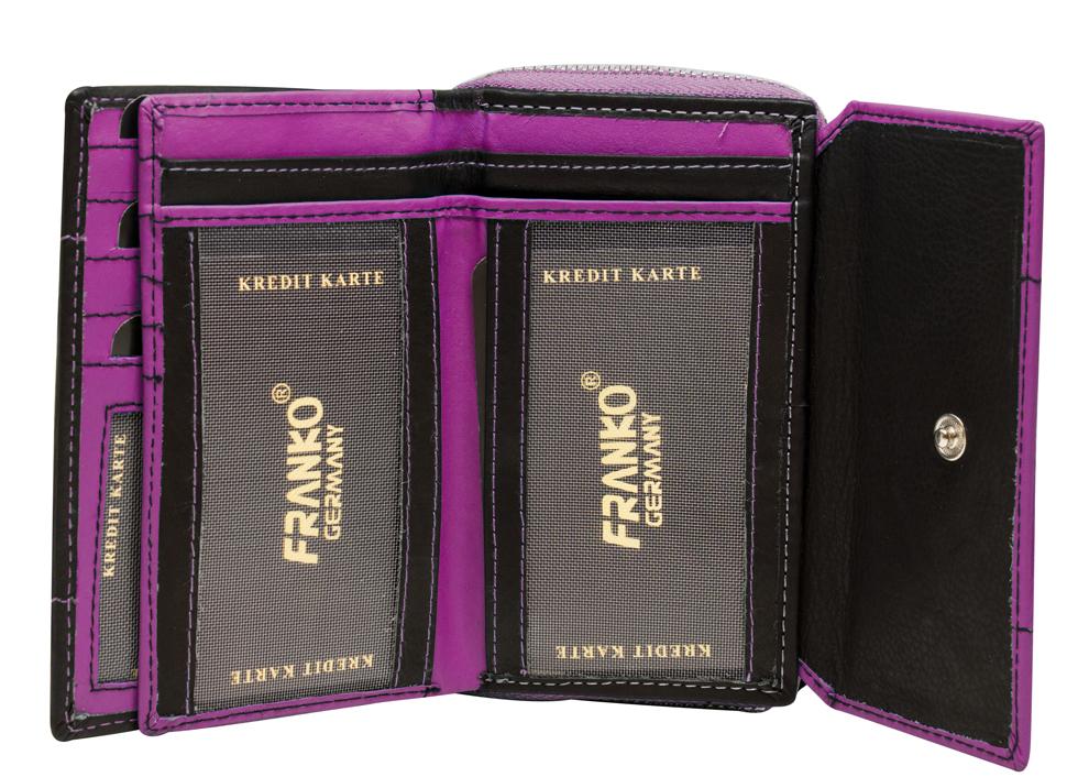 efe1a46eb03f6 ... Vorschau  Pinke Damen Geldbeutel aus weichem Rindsleder mit Druckknopf  und Reißverschluss BB05 Schwarz Pink ...