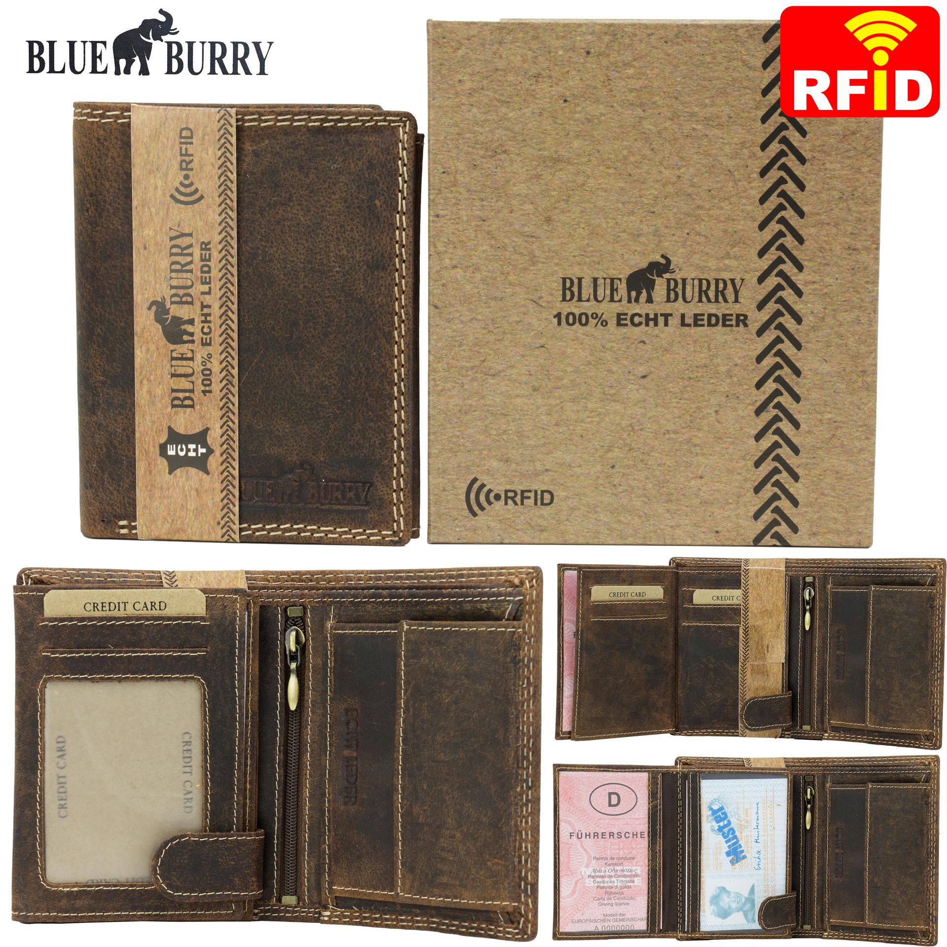 fc416de2f61d1 ... Vorschau  RFID Männer Portemonnaie aus Leder von Blue Burry RF01 in  Dunkelbraun ...