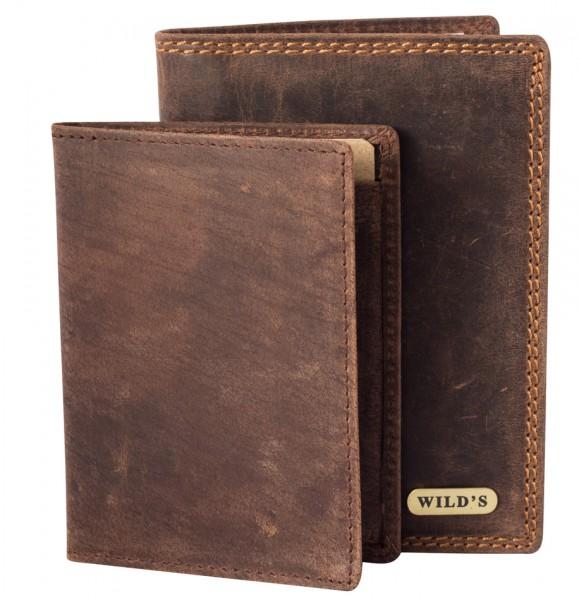 Herren Portemonnaie aus Vintage Leder Hochformat 2in1 Dunkelbraun Modell Wilds 236