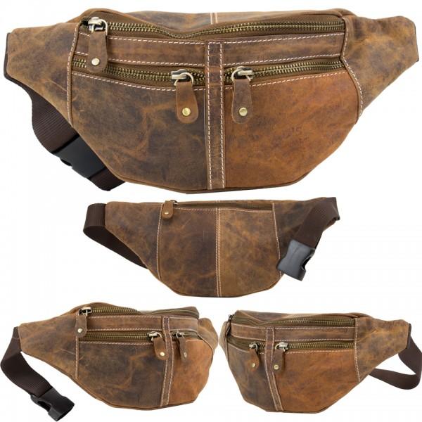 Wild's Herren Bauchtasche Vintage Leder Männer Hüfttasche 2506 Cognac