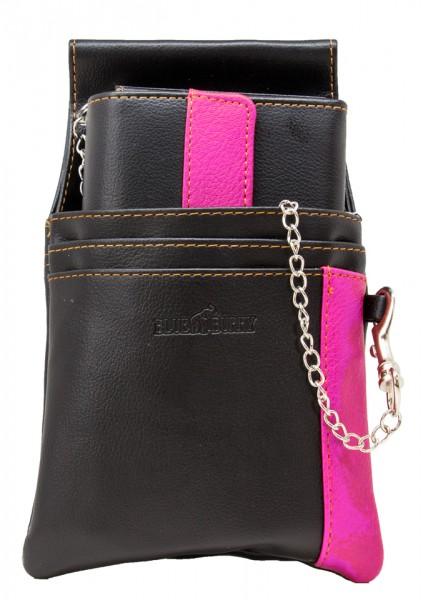 Blue Burry Kellnerbörse Schwarz Pink Kunstleder SET bestehend aus Geldbörse Holster und Kette